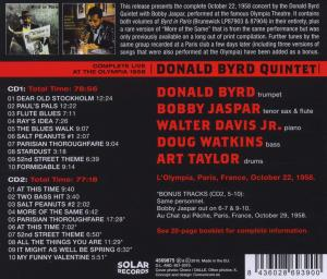 BYRD, DONALD - COMPLETE LIVE AT THE OLYMPIA 1958